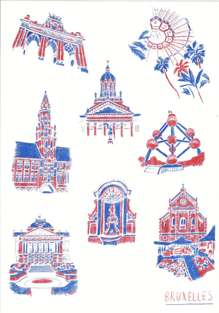 sophie_weidler_bauchez_illustration_affiche_bruxelles_monuments_grand_place_mannekenpis_A3_risographie