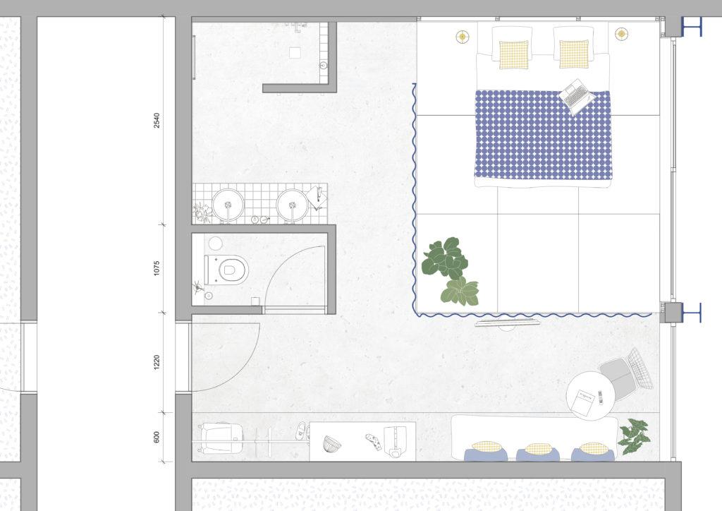 sophie_weidler_bauchez_architecture_hôtel_plan_chambre_bruxelles
